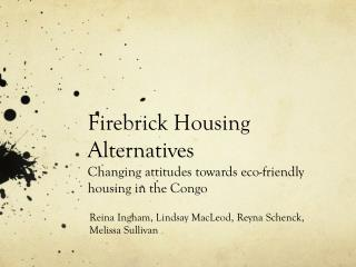 Firebrick Housing Alternatives Changing attitudes towards eco-friendly housing in the Congo