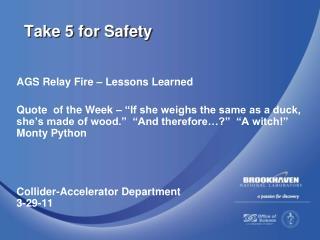 Take 5 for Safety