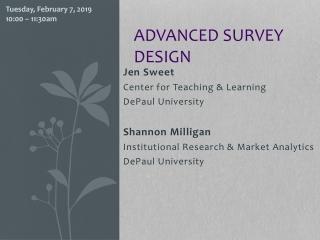 Advanced survey design