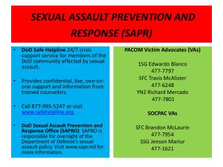 SEXUAL ASSAULT PREVENTION AND RESPONSE (SAPR)