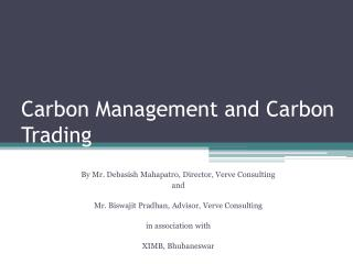 Carbon Management and Carbon Trading