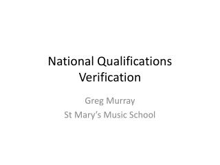 National Qualifications Verification