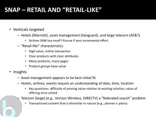 "SNAP – RETAIL AND ""RETAIL-LIKE"""