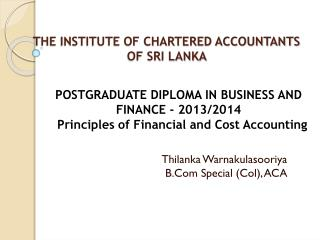 THE INSTITUTE OF CHARTERED ACCOUNTANTS OF SRI LANKA