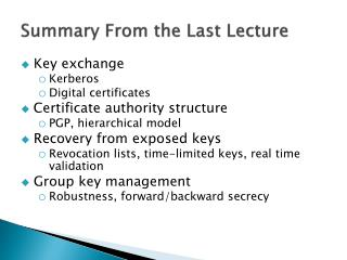 Summary From the Last Lecture