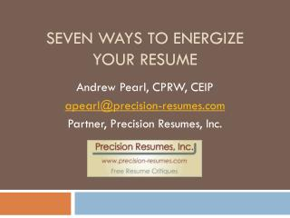 Seven Ways to Energize Your Resume