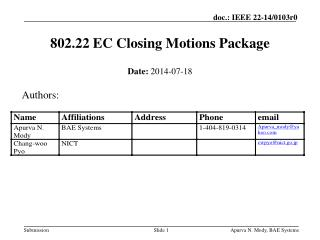 802.22 EC Closing Motions Package