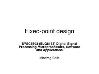 Fixed-point design