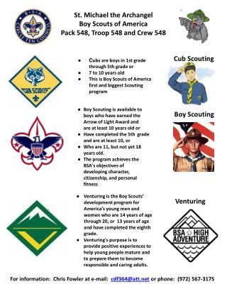 St. Michael the Archangel Boy Scouts of America Pack 548, Troop 548 and Crew 548
