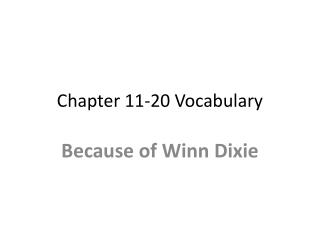 Chapter 11-20 Vocabulary