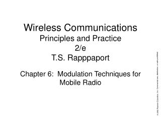 Wireless Communications Principles and Practice 2/e T.S. Rapppaport