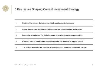 5 Key Issues Shaping Current Investment Strategy