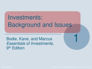 Investments: Background and Issues