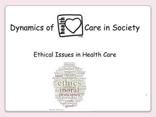 Dynamics of             Care in Society Ethical Issues in Health  Care