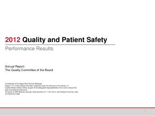 2012  Quality and Patient Safety Performance Results