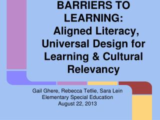 REMOVING BARRIERS TO LEARNING:
