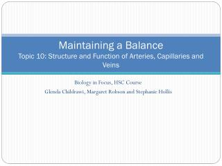 Maintaining a Balance Topic 10: Structure and Function of Arteries, Capillaries and Veins