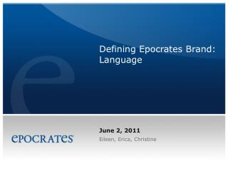 Defining Epocrates Brand: Language