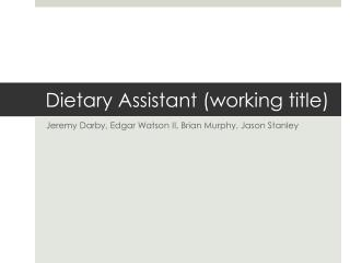 Dietary Assistant (working title)