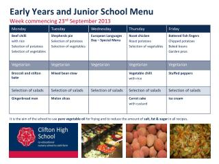 Early Years  and Junior School  Menu  Week  commencing 23 rd September 2013