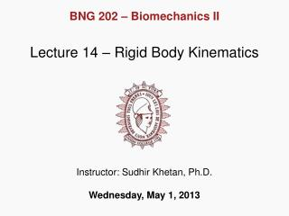 Lecture  14  – Rigid Body Kinematics