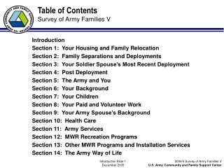 Table of Contents Survey of Army Families V