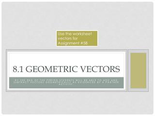 8.1 Geometric Vectors