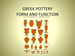GREEK POTTERY FORM AND FUNCTION