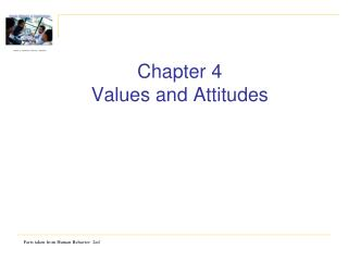 Chapter  4 Values and Attitudes
