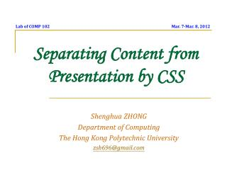 Separating Content from Presentation by CSS