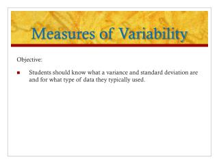 Measures of Variability