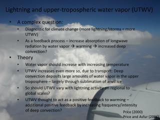 Lightning and upper-tropospheric water vapor (UTWV)
