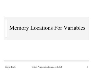 Memory Locations For Variables