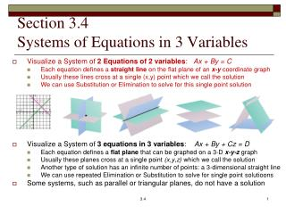 Section 3.4 Systems of Equations in 3 Variables