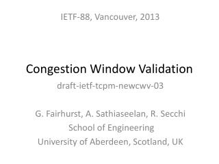 Congestion Window Validation