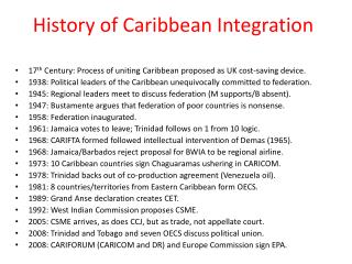 History of Caribbean Integration