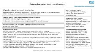Safeguarding contact sheet – useful numbers