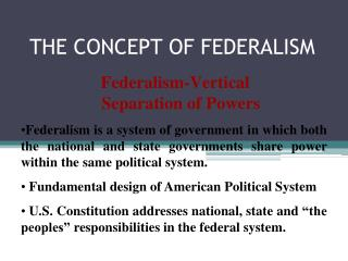 THE CONCEPT OF FEDERALISM