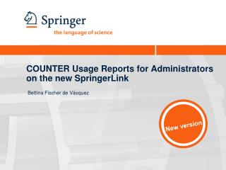 COUNTER Usage Reports for Administrators on the new SpringerLink