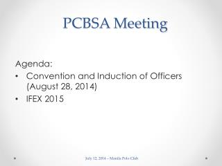 PCBSA Meeting