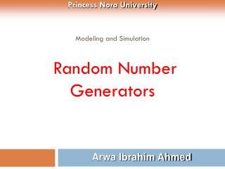 Modeling and Simulation  Random Number Generators