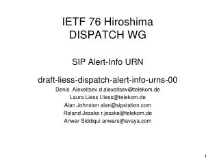 IETF 76 Hiroshima DISPATCH WG SIP Alert-Info URN
