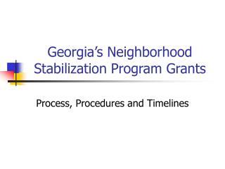 Georgia's Neighborhood Stabilization Program Grants
