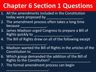Chapter 6 Section 1 Questions
