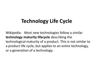 Technology  Life Cycle