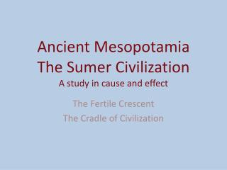 Ancient Mesopotamia The Sumer Civilization A study in cause and effect