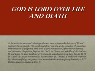 God Is Lord over Life and Death