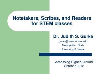 Notetakers, Scribes, and Readers for STEM classes