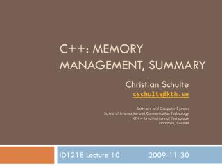 C++: Memory Management,  Summary