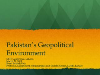 Pakistan's Geopolitical Environment